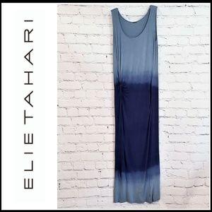 ELIE TAHARI Blue T-Shirt Style Tie Dye Maxi Dress